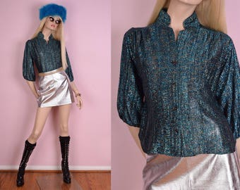 70s Metallic Tinsel Blouse/ Medium/ 1970s/ Button Down