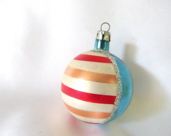Vintage Christmas Ornament, Blue and Striped Poland Ornament