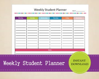 Weekly Student Planner - Homework planner - Student weekly planner - Printable and Editable - INSTANT PDF DOWNLOAD