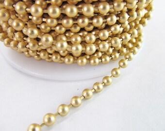 2 Ft Matte 2mm Gold Plated Brass Ball Chain Ch263