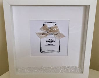 Coco Chanel No5 Perfume Bottle Crystals White Box Frame Picture Print Birthday Gift Home