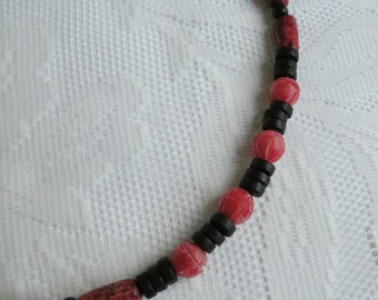 Light Red Betel Nut and Black Wood Necklace
