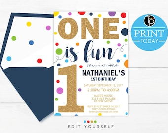 Confetti BOY 1st Birthday INVITATION, Confetti 1st Birthday Invitation, Boy First Birthday Invitation, Instant download, primary color, 0224