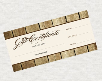 printable gift certificate, rustic wood effect business marketing promotion printable editable file or last minute gift idea christmas gift