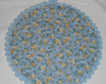 Crocheted cotton Potholder hand/color string, blue and fabric liberty