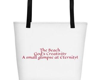 God's Creativity Beach Bag Tote Bag Faith Grocery Shopping Inspirational Gifts Graduation Confirmation
