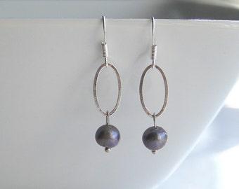 Purple pearl and silver earrings - KEIRA -purple
