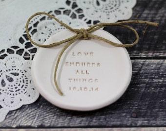 Love endures all things Ring bearer pillow alternative, Ring pillow alternative, Wedding ring bearer Ring dish Ceramic ring dish