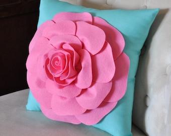 Pink Rose on Bright Aqua Pillow