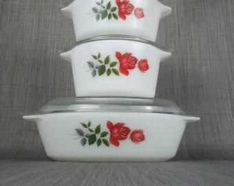1960s JAJ PYREX - June Rose  casserole set 1, 2  2.5 pint casserole dishes # 505 509 2220