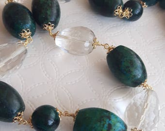 Necklace Chrysocolla, necklace drops crystal of rock, necklace silver