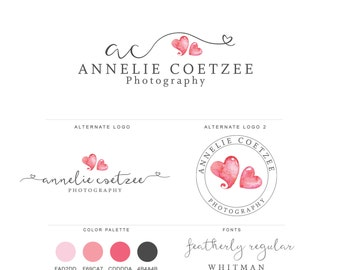 Mini Branding Package, Photography Logo and Watermark, Watercolor Pink Hearts Premade Marketing Kit bp13