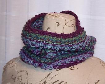 Small hand knit cowl multicolored