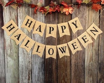 HAPPY HALLOWEEN Burlap Banner Halloween Bunting Decoration Rustic Fall