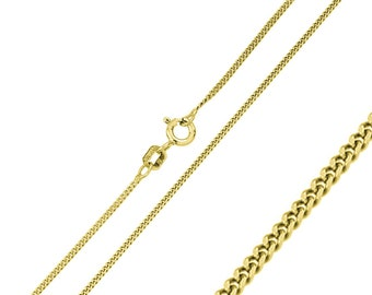 1.9mm 925 Sterling Silver Curb Chain Necklace / 14K Gold Plated made in italy(PLCURB190GP)