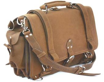 USA hergestellt Aktentasche Messenger Tasche Rucksack Mittel - Hirschleder Tan beunruhigt, robustes Leder