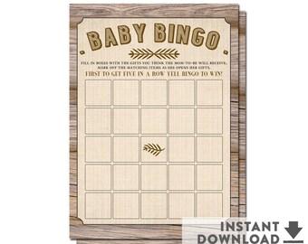 Rustic Baby Shower Bingo Card Printable, Baby Boy Shower, Boy Baby Shower Game Printable • No.709BROWN
