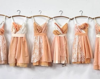 Custom Peach Bridesmaids Dresses