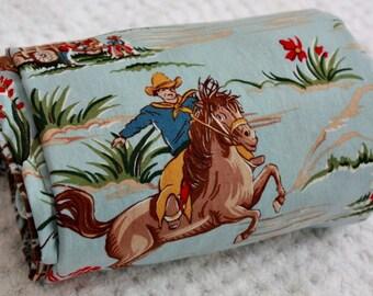 Western Cowboy Baby Blanket Blue Paisley Minky Barn Dandys LAST ONE