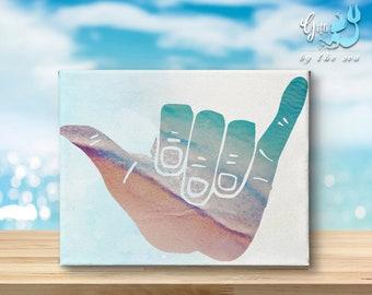 Shaka - hawaii, ocean, calming, canvas print, gifts by the sea