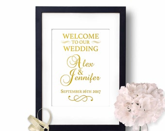 Welcome To Our Wedding Sign, Gold Foil Reception Decor, Rose Gold