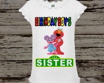 Sesame Street Sister Shirt - Elmo and Abby Sister Birthday Shirt