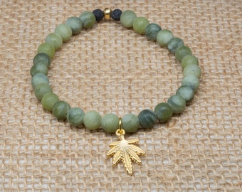 Cannabis Bracelet, Pot Bracelet, Weed Jewelry, Taiwan Jade Bracelet, Diffuser Bracelet, Essential Oil Bracelet, Beaded Bracelet, Pot Jewelry