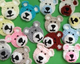 Crochet teddy bear head appliques x 2,motif,embellishment,scrapbooking,sewing