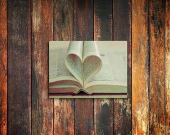 book heart love photo magnet / valentines day, kitchen decor, fine art photograph, book, text, romantic