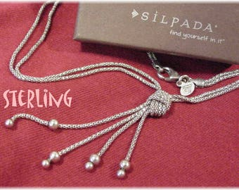 """Silpada - Sterling Silver - Forget Me Knot Lariat Tassel Double Strand Silky Chain 17 1/2"""" Necklace - Grabs The Light - In Box FREE SHIPPING"""