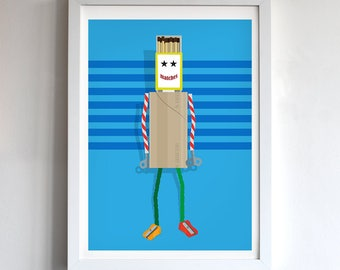 Matches robot print, great for a kids bedroom, playroom or just to brighten a wall