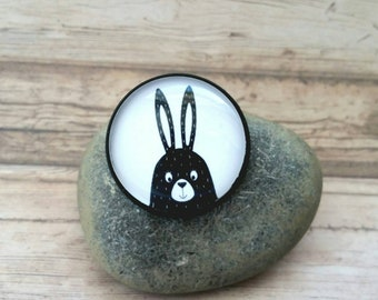 Bunny brooch, bunny pin, needle pin, statement jewelry, bunny jewelry, easter bunny, rabbit illustration, bunny portrait, forest hare, cute