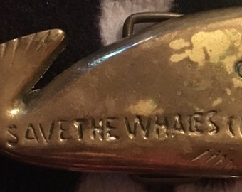 Brass save the whales belt buckle