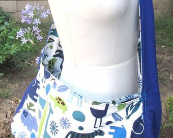 Grocery bag | Market bag | Shopping bag | Beach bag | Reversible | Navy/animal prints | heavy-duty bag