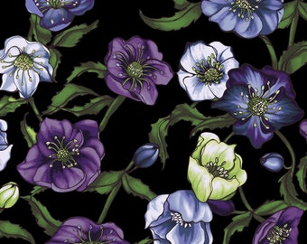 Clothworks - Lenten Rose - Floral - Black - Fabric by the Yard Y2278-03