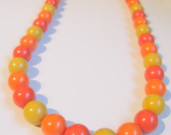 Orange Necklace Vintage Long Necklaces, MOD Orange Beads Beaded