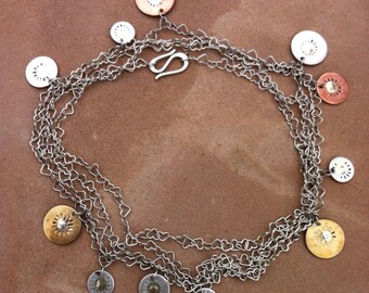 Long Heart Chain Cascading Coin Necklace