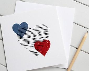 Scandi Style Love Heart Romantic Card Valentines Day Modern Pattern Gender Neutral