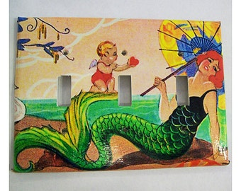 mermaid triple switch plate retro vintage 1920s pin up rockabilly light switch cover
