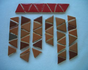 BRT - BROWNS, RED Triangles - Ceramic Mosaic Tiles