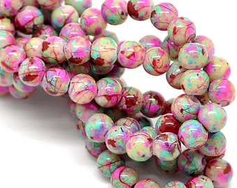 35 Glass Beads 6mm Multi Colors Bright and Fun - BD118