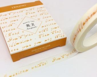 Yellow Writing Slim Washi Tape 8mmx 8m