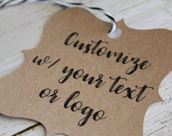 YOUR TEXT HERE, Bracket Tags, Fancy, Custom Logo, Custom Printed Tags, Paper Tags, Wedding Favor Tags, Wedding Favor, Thank You Tag