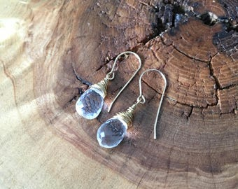 Crystal Quartz Briolette Drop Earrings; Gold Filled wire wrapped crystal earrings, french wire wires, sterling silver option
