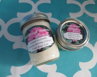 Scented Soy Candles- Choose One 8 Oz and One Four oz Candle- Candle Gift Set- Dye Free- Phthalate Free Hand Pouered Candle