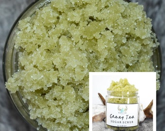 Green Tea Sugar Scrub - Body Scrub - All Natural Sugar Scrub - Handmade Scrub - Tea Body Scrub - Green Sugar Scrub