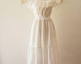 Off Shoulder Style Beach Dress White Sundress White Cotton Lace Maxi Dress Drop Holiday Birthday Summer Dress -Free Size (US4-US8)