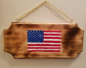 American Flag Plaque Hand Painted