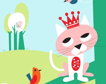 Cat & bird nursery art print - Far from home -Girl Nursery Decor, Kid Wall Art, baby nursery decor, nursery wall art, playroom decor