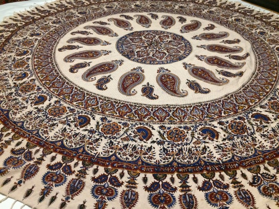 """Calico fabric with Natural dyes  round table-cloth 80"""" inches with tassels ,middle eastern table top, mandala tablecloth pattern"""